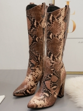 Pointed Toe Snake Printed Chunky Heel Mid Calf Boots