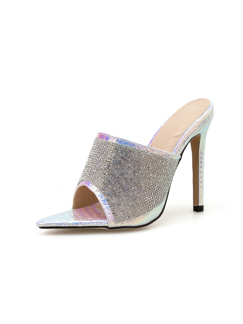 Rhinestone Glitter Pointed Toe Womens Slippers