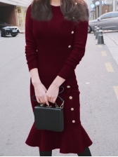 Chic Solid Knitting Fishtail Long Sleeve Dress