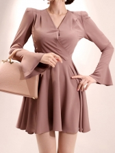 V Neck Flare Sleeve Fitted A-Line Dress