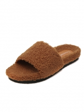 Solid Winter Warm Fur Slippers