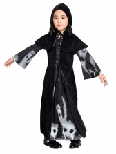 Skull Printed Long Dress Witch Costume