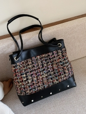 Beads Decor Linen Patchwork Large Capacity Shoulder Bag