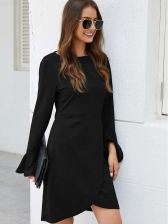 Flare Sleeve Fitted Long Sleeve Short Dress